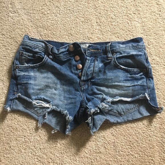 Free People Pants - Free People denim shorts with button up